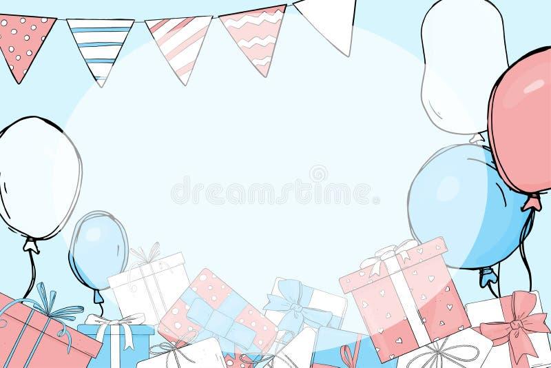 Einladung an die Partei Geschenke und Ballone lizenzfreie abbildung