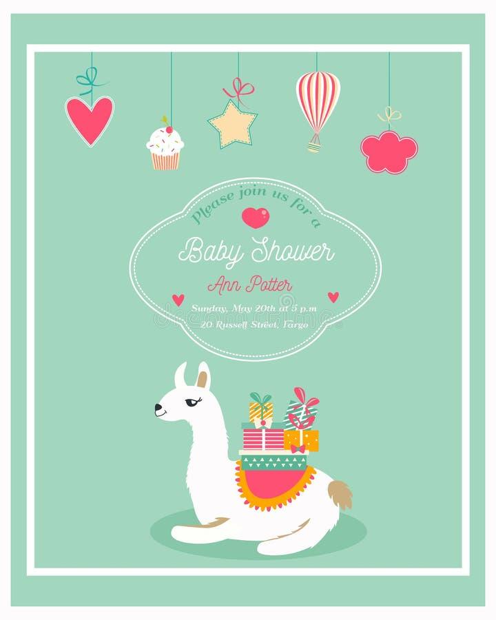 Einladung für Babyparty mit lustigem Lama lizenzfreie abbildung