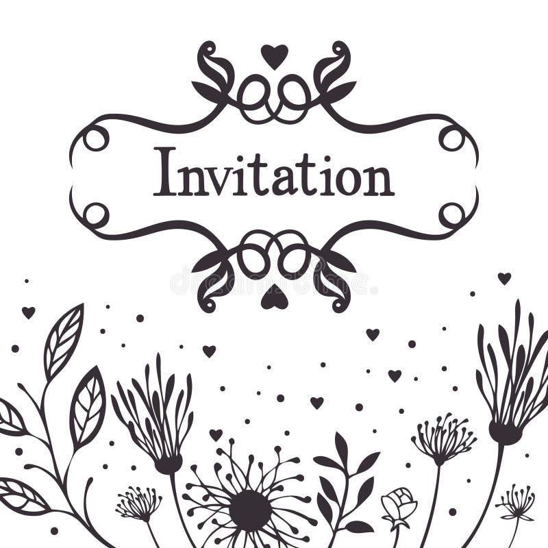 Einladung mit abstraktem Blumenhintergrund stock abbildung