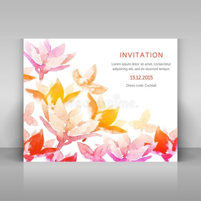 Einladung mit Aquarellblumen lizenzfreies stockfoto