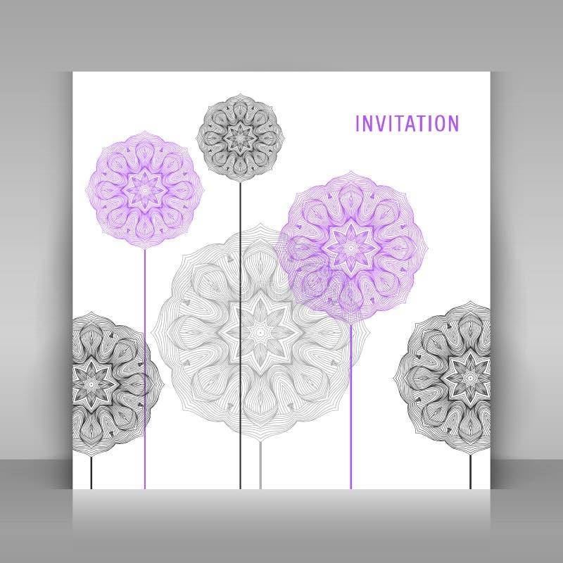 Einladung mit Blumendekoration stock abbildung