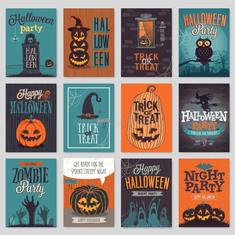 Einladung oder Gruß Halloweens Hand gezeichneter Kartensatz lizenzfreie abbildung