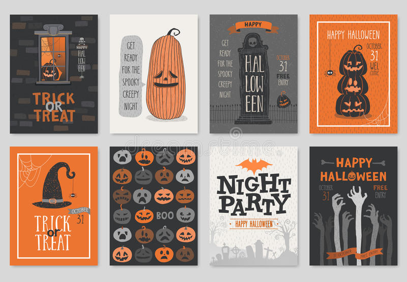 Einladung oder Gruß Halloweens Hand gezeichneter Kartensatz stock abbildung