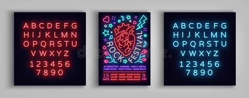 Einladung zum Rockfestival Typografie, Plakat in der Neonart, Flieger-Designschablone für Rockfestival, Konzert, Partei lizenzfreie abbildung