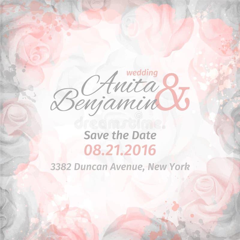 Einladung zur Hochzeit Abstrakter romantischer rosafarbener Hintergrund in den rosa und grauen Farben Rand der Farbband-, Lorbeer lizenzfreie abbildung