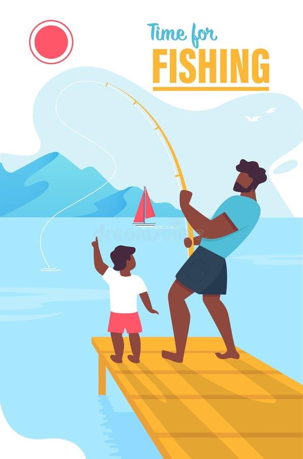 Einladungs-Fahnen-Zeit für die Fischerei der Beschriftung lizenzfreie abbildung