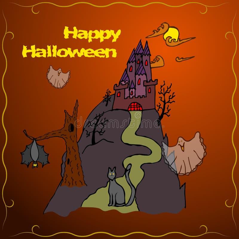 Einladungs-Karte oder Plakat glücklichen Halloween-Feiertags lizenzfreie stockfotografie