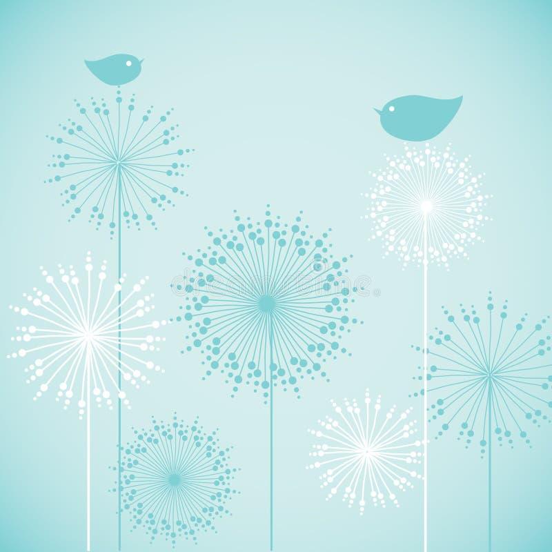Einladungs-Kartendesign der netten Babyparty blaues Illustration für Feiertag, Geburtstag, Druck, Tag und Fahne Vögel auf Blumen vektor abbildung