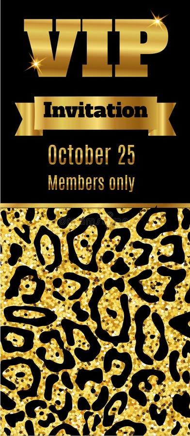 Einladungs-Kartenflieger der Promi-Vereinpartei erstklassiger Schwarzes und Goldschablone stock abbildung