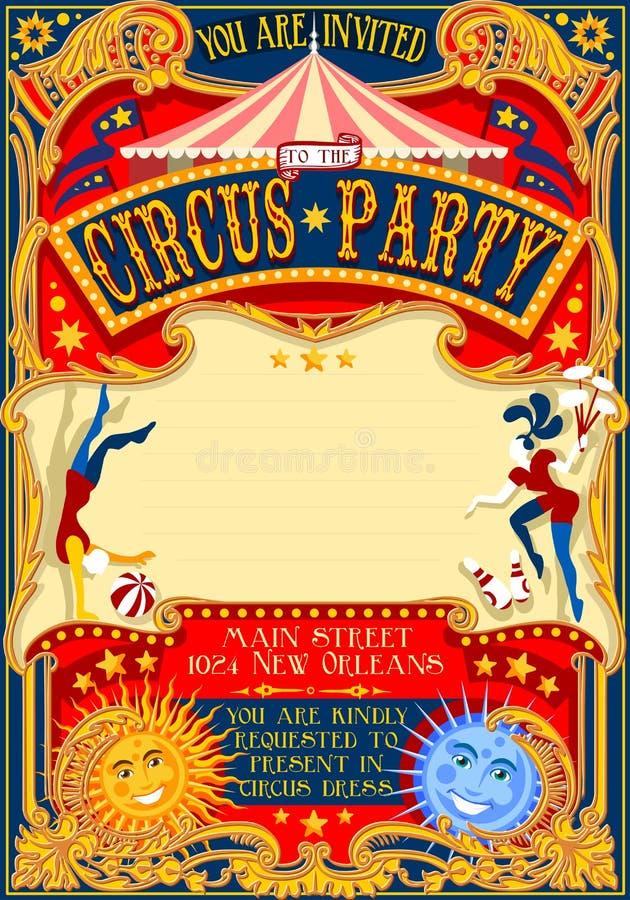 Einladungs-Weinlese 2D des Zirkus-01 lizenzfreie abbildung