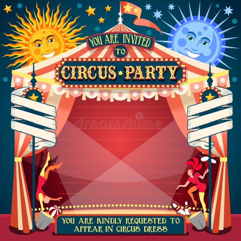 Einladungs-Weinlese 2D des Zirkus-02 vektor abbildung