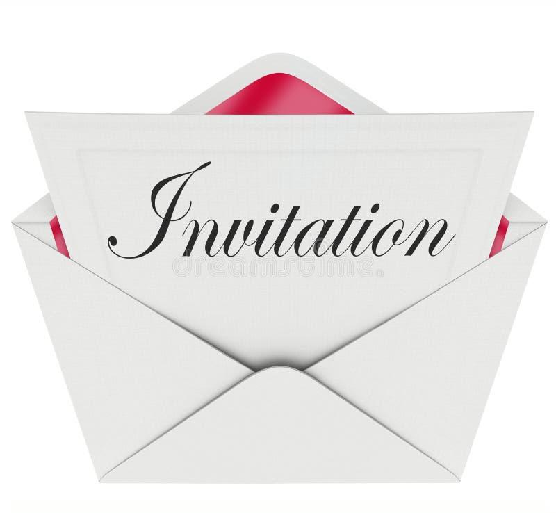Einladungs-Wort-Karten-Umschlag eingeladen zum Partei-Ereignis stock abbildung