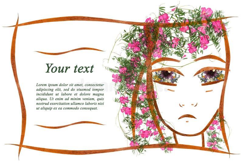 Einladungsapplikation des Mädchen ` s traurigen Gesichtes gemacht vom trockenen geran vektor abbildung