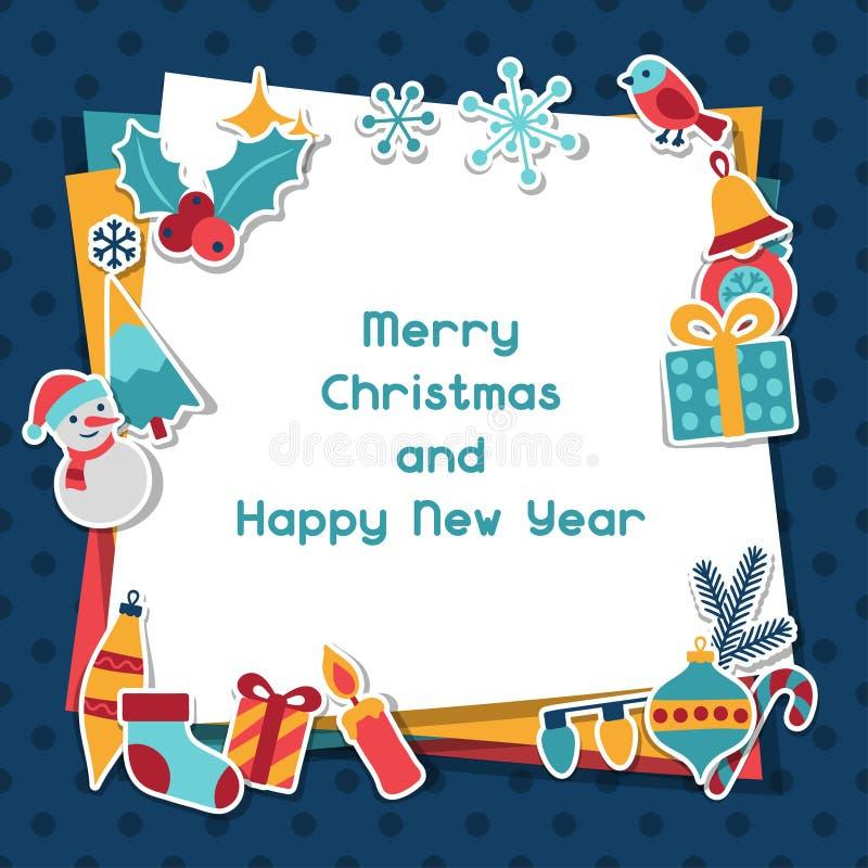 Einladungskarte Der Frohen Weihnachten Und Des Guten Rutsch Ins Neue Jahr