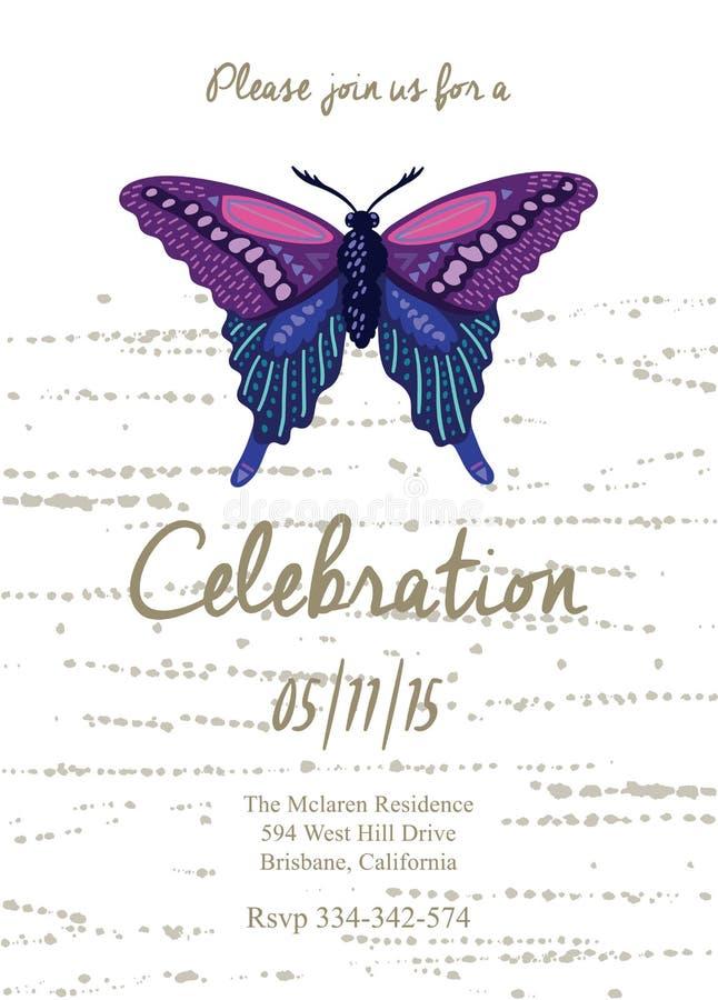 Einladungskarte Für Die Heirat, Geburtstag Und Feiertag Mit Schönem  Schmetterling