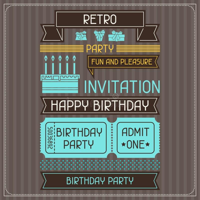 Einladungskarte für Geburtstag im Retrostil vektor abbildung