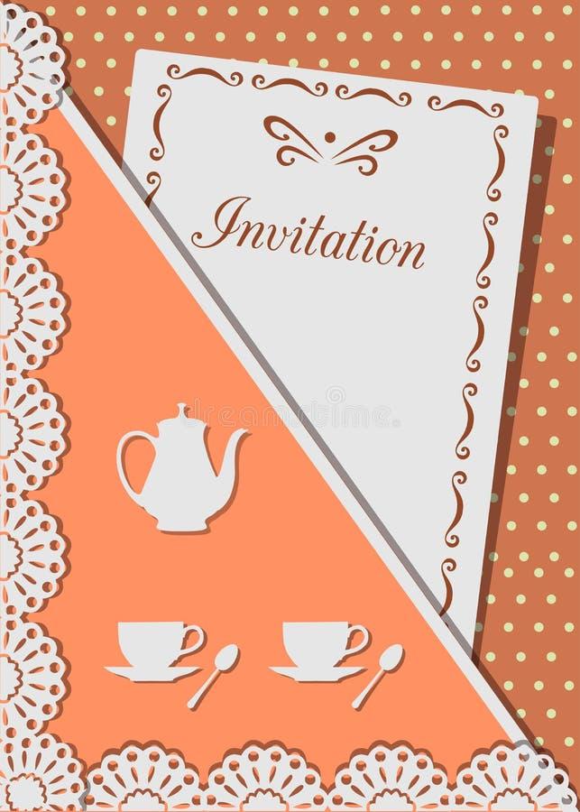 Einladungskarte für Kaffee, verziert mit Spitze, auf Hintergrund von Tupfen stock abbildung