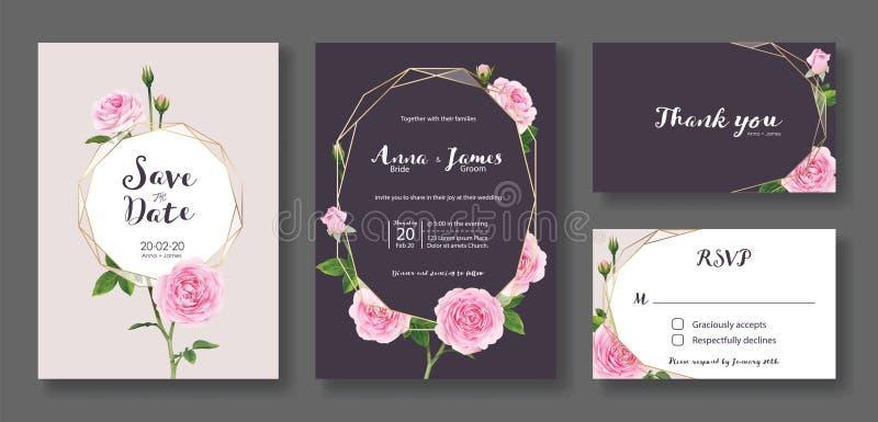 Einladungskarte heiratend, sparen Sie das Datum, danke, rsvp Schablone Vektor Rosafarbene Blume des Rosas stock abbildung