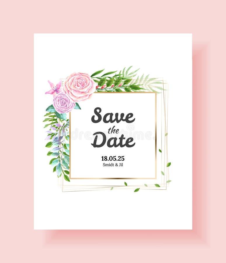 Einladungskarte heiratend, sparen Sie das Datum, danke, rsvp Schablone Vektoraquarellblumen, Efeuanlagen lizenzfreie abbildung