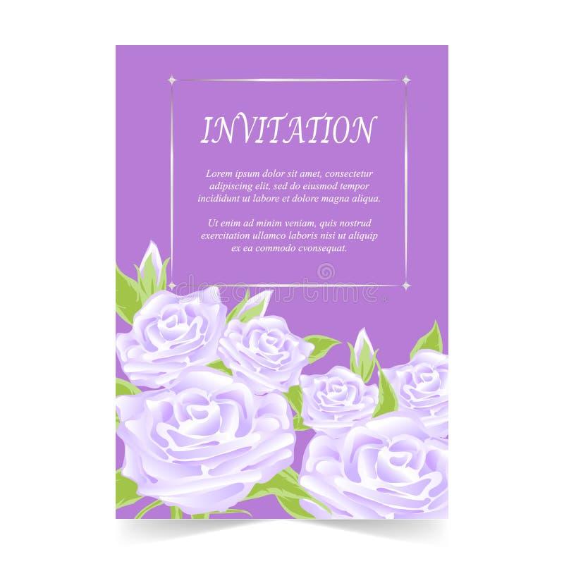 Einladungskarte, Hochzeitskarte mit stieg auf purpurroten Hintergrund stock abbildung