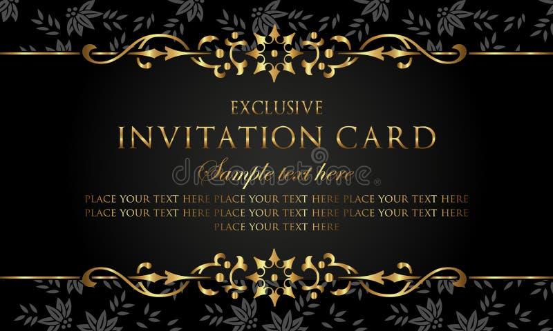 Einladungskarte - Luxusschwarz- und Goldweinleseart stock abbildung