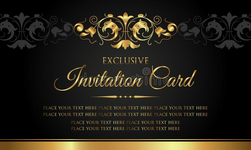 Einladungskarte - Luxusschwarz- und Goldweinleseart vektor abbildung