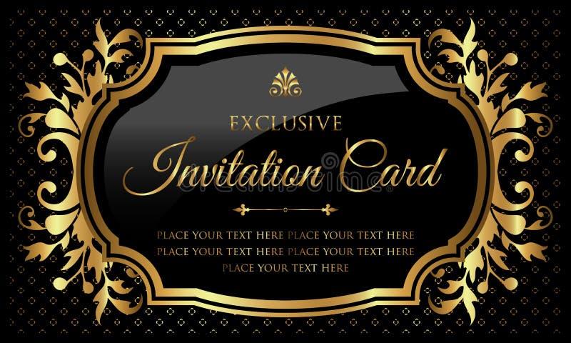 Einladungskarte - Luxusschwarzes und Gold entwerfen in der Weinleseart vektor abbildung