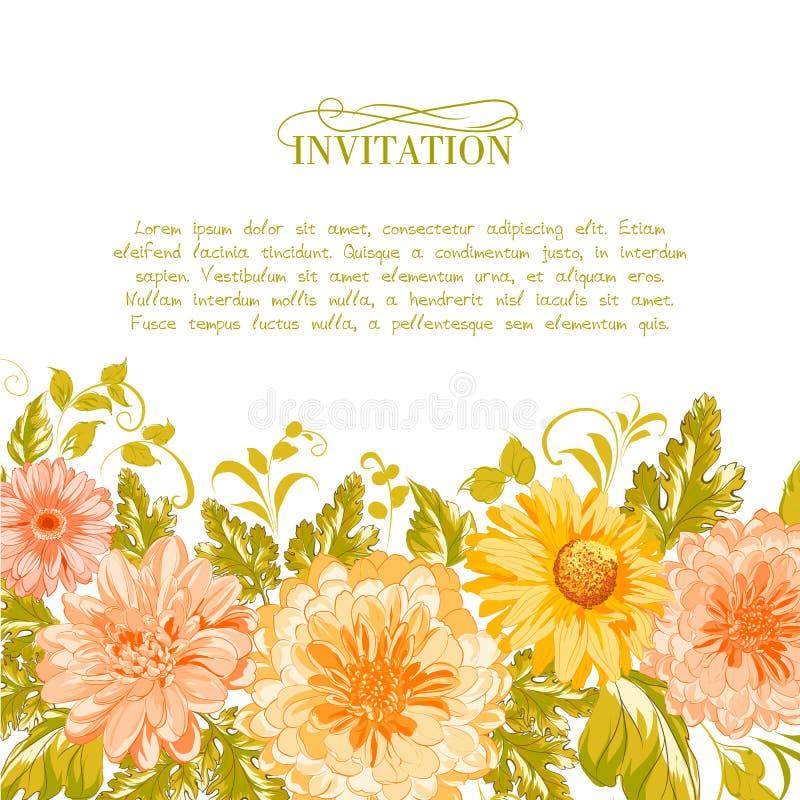 Einladungskarte mit Blumen. vektor abbildung