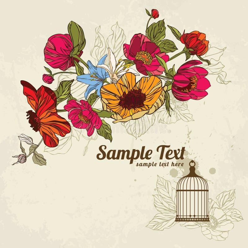 Einladungskarte mit Blumen und Birdcage 02 vektor abbildung