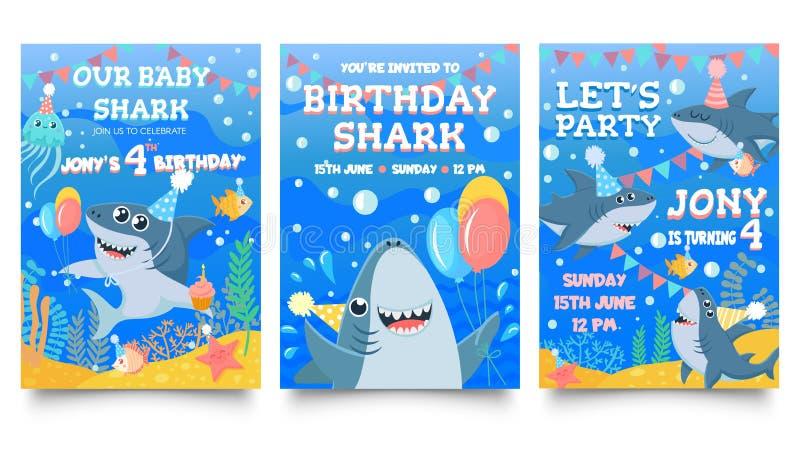 Einladungskarte mit niedlichen Haien Geburtstagsfeier für Baby-Haie, Haifamilie feiert Geburtstag und Einladungen für Kinder stock abbildung