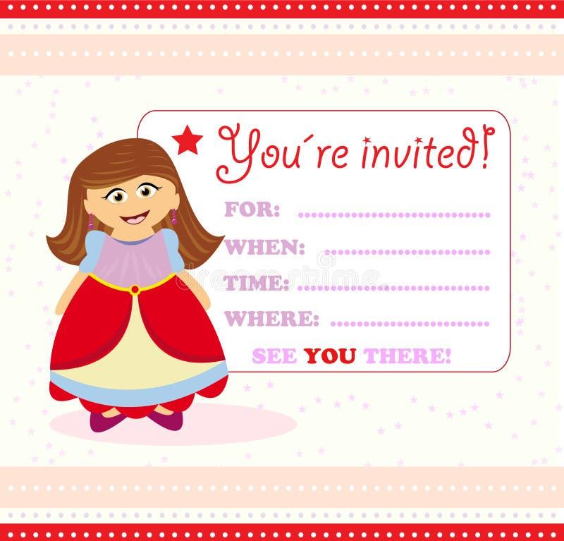 Einladungskarte mit Prinzessin lizenzfreie abbildung