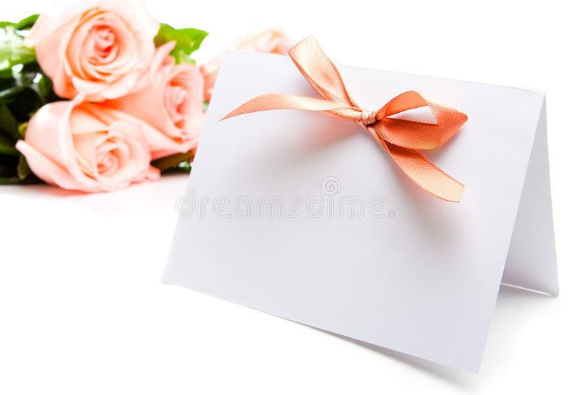 Einladungskarte und -rosen lizenzfreie stockfotografie
