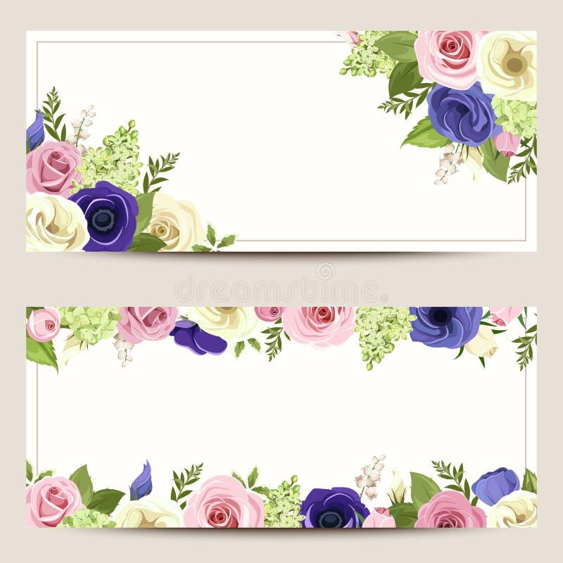 Einladungskarten mit bunten Rosen, lisianthuses und Anemonenblumen vektor abbildung
