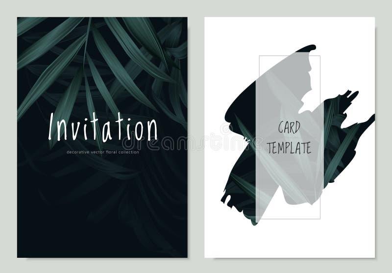 Einladungskarten-Schablonenentwurf, grüne Palmblätter auf Schwarzem stock abbildung