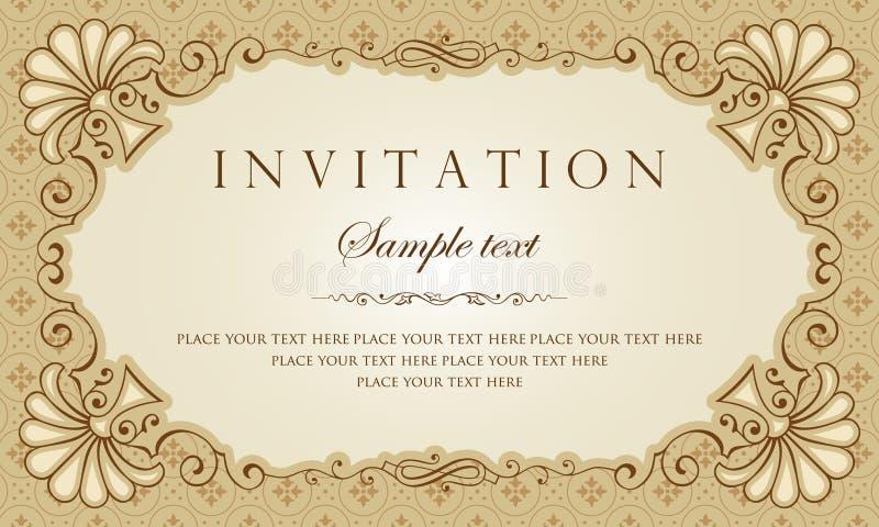 Einladungskarten-Vektordesign - Weinleseart lizenzfreie abbildung