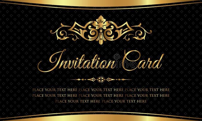 Einladungskartendesign - Luxusschwarz- und Goldweinleseart stock abbildung