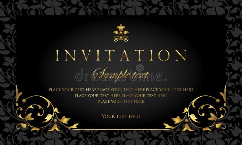 Einladungskartendesign - Luxusschwarz- und Goldweinleseart lizenzfreie abbildung