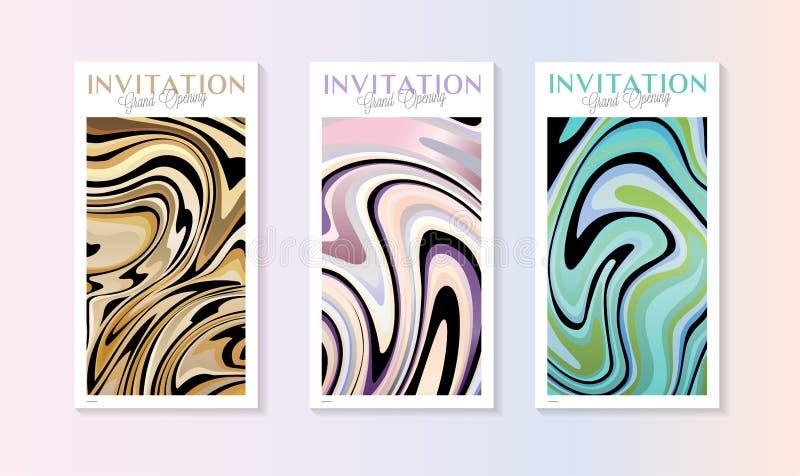 Einladungskartenschablone mit hellen bunten flüssigen Farbenwellen, abstrakte Marmorbeschaffenheit vektor abbildung