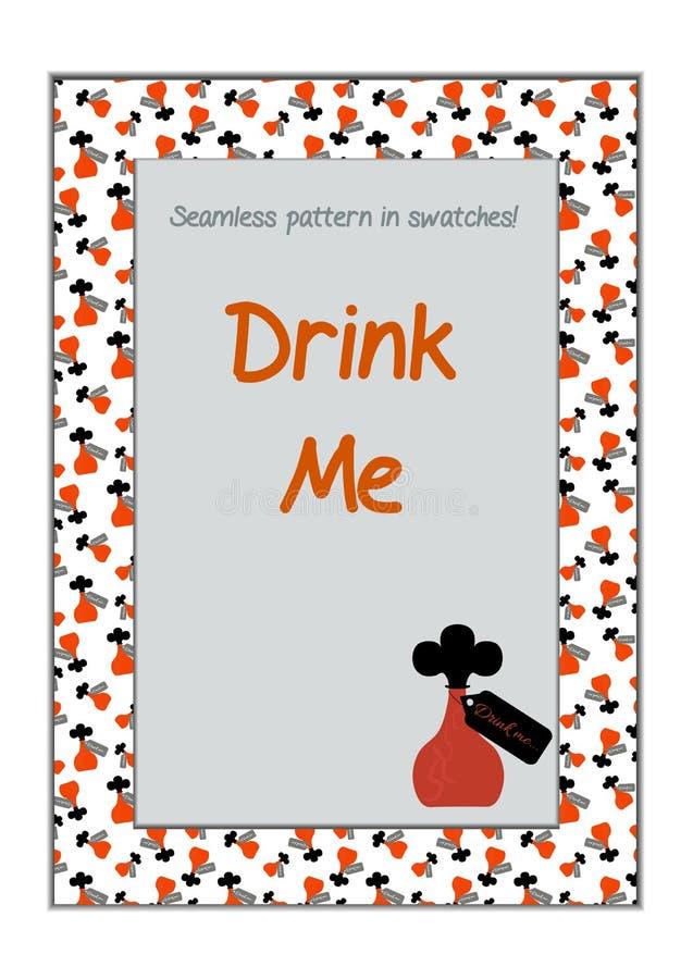 Einladungspostkarte trinken mich Flasche vom Märchenland stock abbildung
