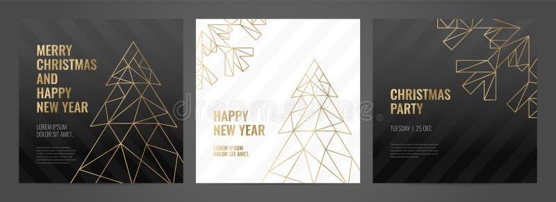 Einladungsschablonen-Goldlinien auf einem schwarzen Hintergrund