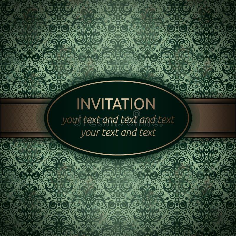 Einladungsvektorkarte im Grün mit Goldband vektor abbildung