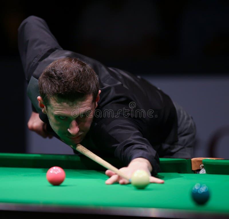 Einlegen Sie Weltmeister, freundliches Turnier Mark Selby-Spiele in Bukarest her stockbilder