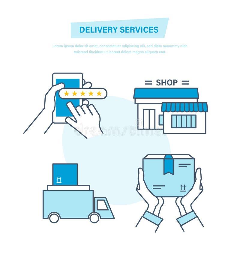 Einrichtung, Kauf von Waren, Lieferung, Transport, Feedback, Unterstützung, gps-Spurhaltung vektor abbildung