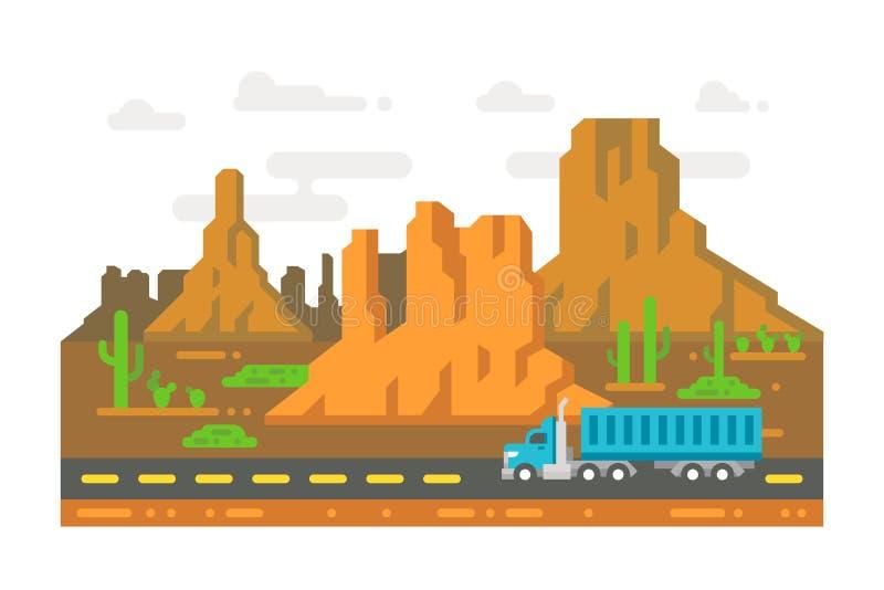 Einsame Straße Arizona des flachen Designs lizenzfreie abbildung