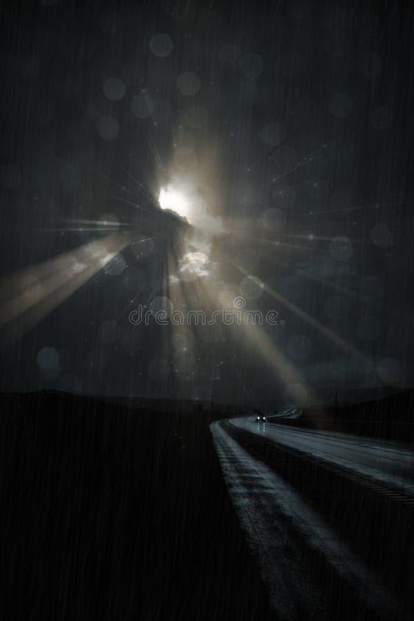 Einsame Straße im Regen stock abbildung