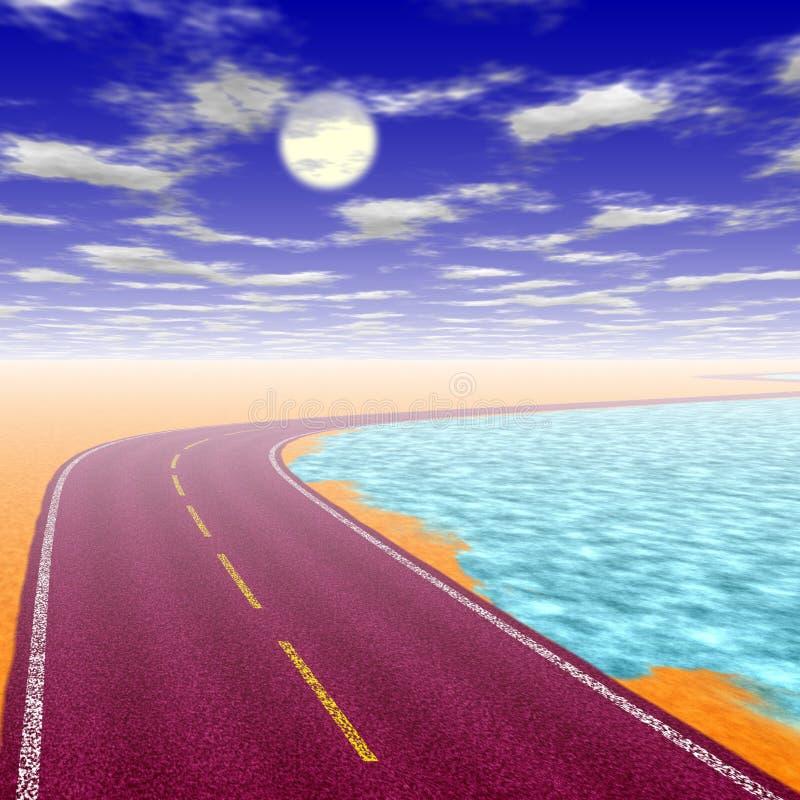 Einsame Straße zu nirgendwo lizenzfreie abbildung