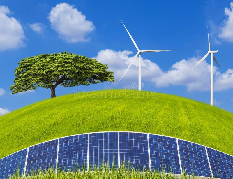 Einsamer Baum mit photovoltaics Sonnenkollektoren und Windkraftanlagen, die Strom auf grünem Feld und blauem Himmel erzeugen lizenzfreie stockfotos