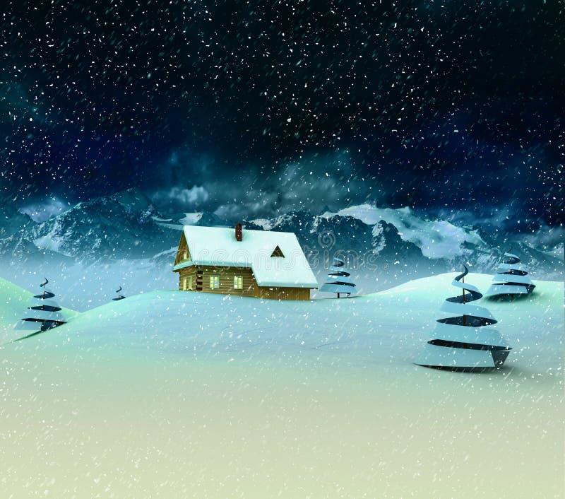 Einsamer Gebirgshütte mit Bäumen an den Winterschneefällen stock abbildung