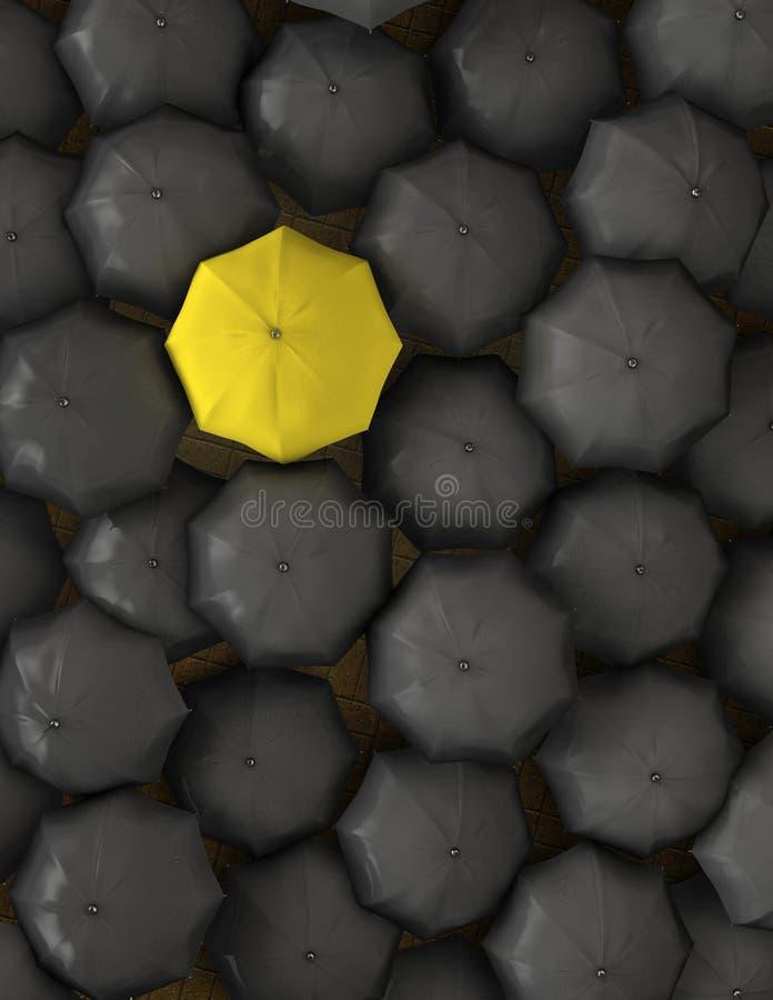 Einsamer gelber Regenschirm lizenzfreie abbildung