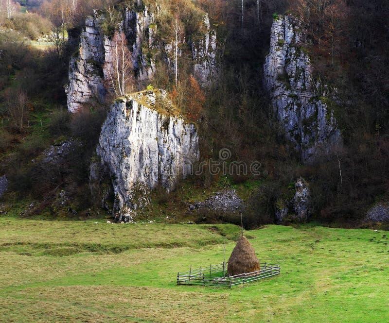 Einsamer Heuschober in einer Einschließung am Fuß des Berges, Fundatura Ponorului stockbilder